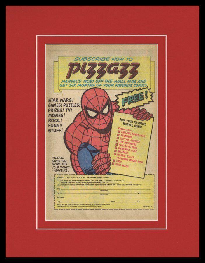 Spider-Man 1978 Marvel Pizzazz Magazine Framed 11x14 ORIGINAL Advertisement - $44.54
