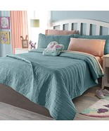 Light Turquoise Stripes Reversible Comforter Set King Size 1PC Soft and ... - $91.48