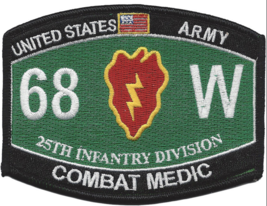 Us Army Mos 25TH Infantry Division Combat Medic Embroidered Patch - $17.09