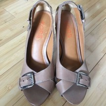 Michael Kors Heels Open Toe leather tan nude size 9.5 EUC - $35.00