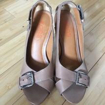 Michael Kors Heels Open Toe leather tan nude size 9.5 EUC image 1