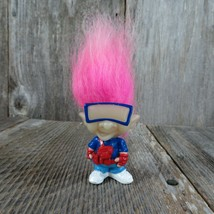 Vintage Troll Doll Pink Hair Glasses Glow In Dark Burger King Kids Meal ... - $15.83