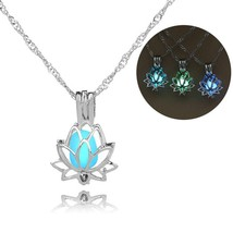 Hot fashion night glow lotus flower necklace pendant accessories essential oils  - $10.25