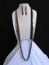 De Mujer Collar y Pendientes Negro Oro Moda Extralargo Varios Hebras Cad... - $26.44