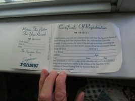 Seymour Mann Connoisseur Collection Doll Certificate Of Registration Card 1993 - $4.00