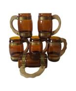 Lot of 6 vintage Siesta Ware barrel shaped bar mugs brown glass wood han... - $27.71
