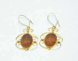 12k Gold Filled Carved Stone Scarab Beetle Egyptian Revival Dangle Earrings - $49.49