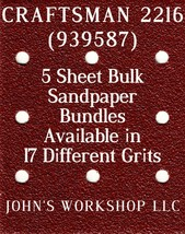 CRAFTSMAN 2216 - 1/4 Sheet - 17 Grits - No-Slip - 5 Sandpaper Bulk Bundles - $7.14