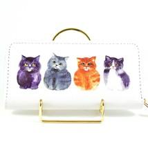 Four Fat Kitten Kitty Cats Design Printed Vinyl Zip Around Clutch Wallet NEW image 1