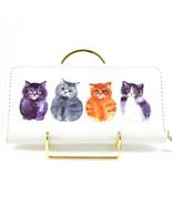 Four Fat Kitten Kitty Cats Design Printed Vinyl Zip Around Clutch Wallet... - $9.89