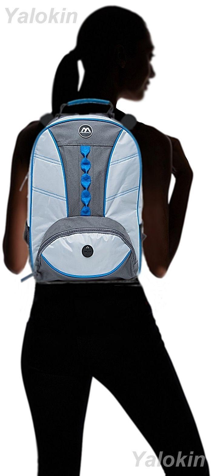 NEW Light Grey With Blue Webbing Fashion Unisex Backpack Shoulder Book Bag