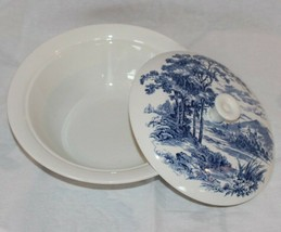 WEDGWOOD china COUNTRYSIDE BLUE Covered Vegetable Serving Bowl & Lid - $37.40