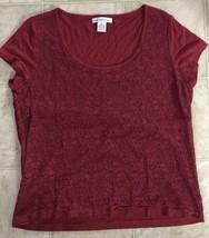 Liz Claiborne Womens Top Size Large Red Crochet Front Floral - $10.39