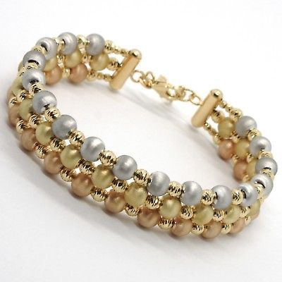 18K YELLOW ROSE WHITE GOLD BANGLE SEMI RIGID BRACELET FINELY WORKED SATIN BALLS
