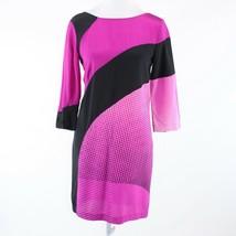Bright pink black color block DIANE VON FURSTENBERG shift dress 2 NWT $4... - $199.99
