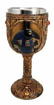 Ebros Ancient Egyptian Wine Goblet in Golden Hieroglyphic Design with Go... - $22.76