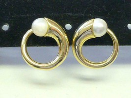 Vintage Signed CJI 7mm White Pearl 14k Yellow Gold Modern Circle Earrings - $617.50