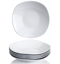 Y YHY 9 Inches Porcelain Salad Pasta Bowls, White Square Bowl Set, Wide ... - £22.42 GBP