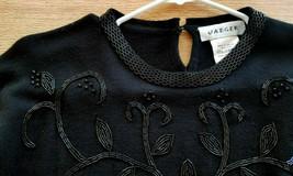 Jaeger 100% Wool Embellished Black Sweater Women's Sz MED EUC - $22.00