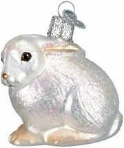 Old World Christmas White Cottontail Bunny Glass Christmas Ornament 12192 - $12.88