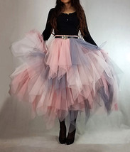 Tiered Elastic High Waist Tulle Skirt Women's Hi-lo Layered Holiday Formal Skirt image 3