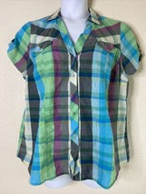 Maurices Womens Size 1 (1X) Plaid Snap Button Shirt Short Sleeve Pockets - $15.84