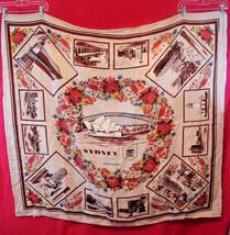 "Heil Sydney Australia Linen Square Tablecloth Floral 43"" x 48"" Opera Hou... - $20.05"