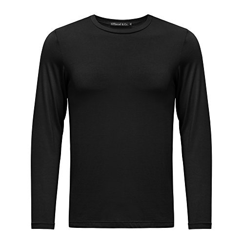 OThread & Co. Men's Long Sleeve Crew Neck T-Shirt Plain Basic Spandex Tee Small,