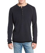 Mens M.Singer Henley Shirt Navy Blue NWT Cotton Poly Viscose Long Sleeve... - $24.70