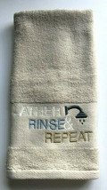 Avanti Hand Towel Lather Rinse Repeat Embroidered Guest Set of 2 Linen C... - $37.60