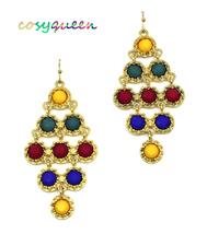 Women new gold yellow wine blue green stone chandelier hook pierced earr... - ₹1,367.54 INR