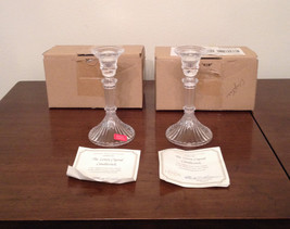 Matching Pair of Lenox Full Lead Crystal Candlestick Holders Made in Aus... - $19.79