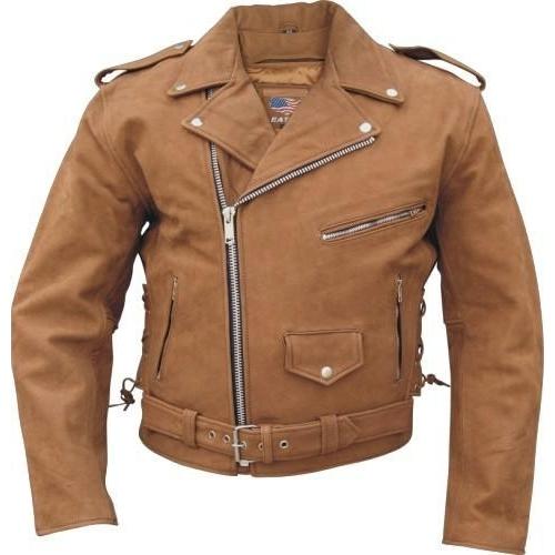 Brown leather motorcycle jacket ckb2015
