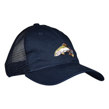 Rainbow Trout Trucker Hat by LET'S BE IRIE - Navy Blue Dad Hat, Fly Fishing - £14.66 GBP