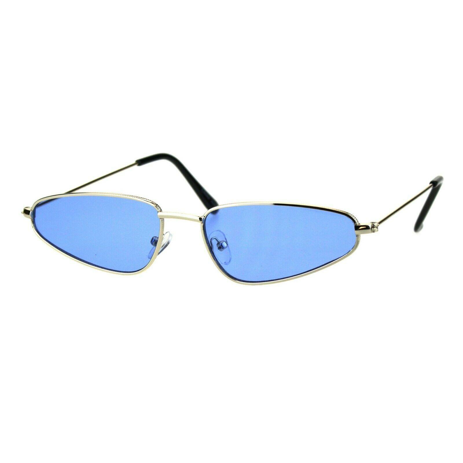 Womens Fashion Sunglasses Skinny Small Gold Metal Frame Color Lens