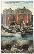 Old Postcard Linen Era Hudson Terminal and Tubes New York City NY Church... - $12.46