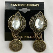 Vintage Brass Tone Clear Rhinestone Dangle Pierced Earrings Antique Styl... - $12.58