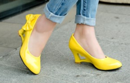 heart Wedge heels with bows, 7 cm heels, US size 4-10.5, yellow - $69.99