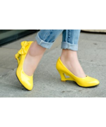 heart Wedge heels with bows, 7 cm heels, US size 4-10.5, yellow - $52.80
