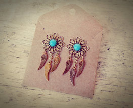 Hypo-Allergenic Turquoise Dream Catcher Stud Earrings Boho Dreamcatcher ... - $68.00