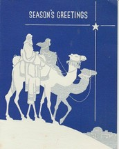 Vintage Christmas Card Wise Men on Camel Blue and Silver Art Deco 1938 - $7.91