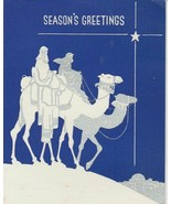 Vintage Christmas Card Wise Men on Camel Blue and Silver Art Deco 1938 - $6.92