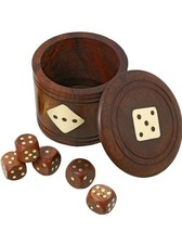 Handmade Dice Set Casino 5 Complete Vintage 20 MM Dice Brown with Wooden... - $19.00
