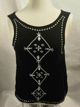 XXI Black with White Embroidery Sleeveless Top, Womens Size S - $9.49