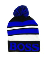 Boss Adult Size Tri-Color Striped Winter Knit Pom Beanie Hats (Black/Royal) - $12.95