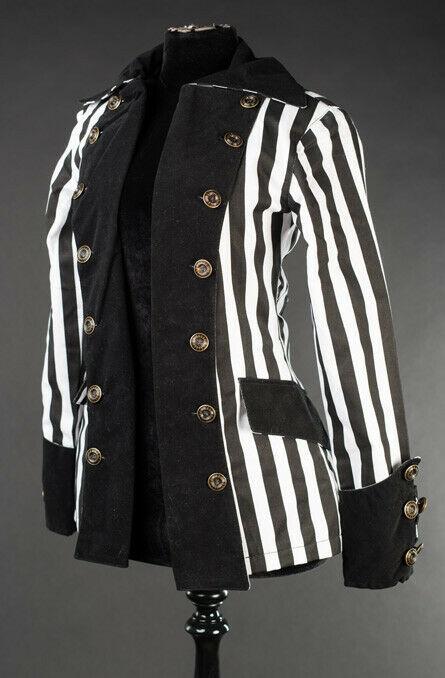 Black White Striped Goth Victorian Jacket Beetlejuice Short Pirate Princess Coat