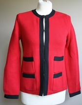 Talbots S P Petite Red Black Trim Cardigan Sweater Cotton Cashmere Hook ... - $28.49