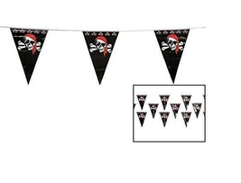 """Pirate Plastic Pennant Ban 1-ft. X 18"""" Plastic Pennants. 100 Ft (48 Flags) - $10.44"""