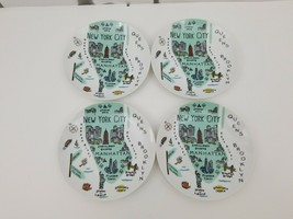 222 Fifth My Place New York City Bread Plates Set of 4 Side Manhattan Ma... - $24.18