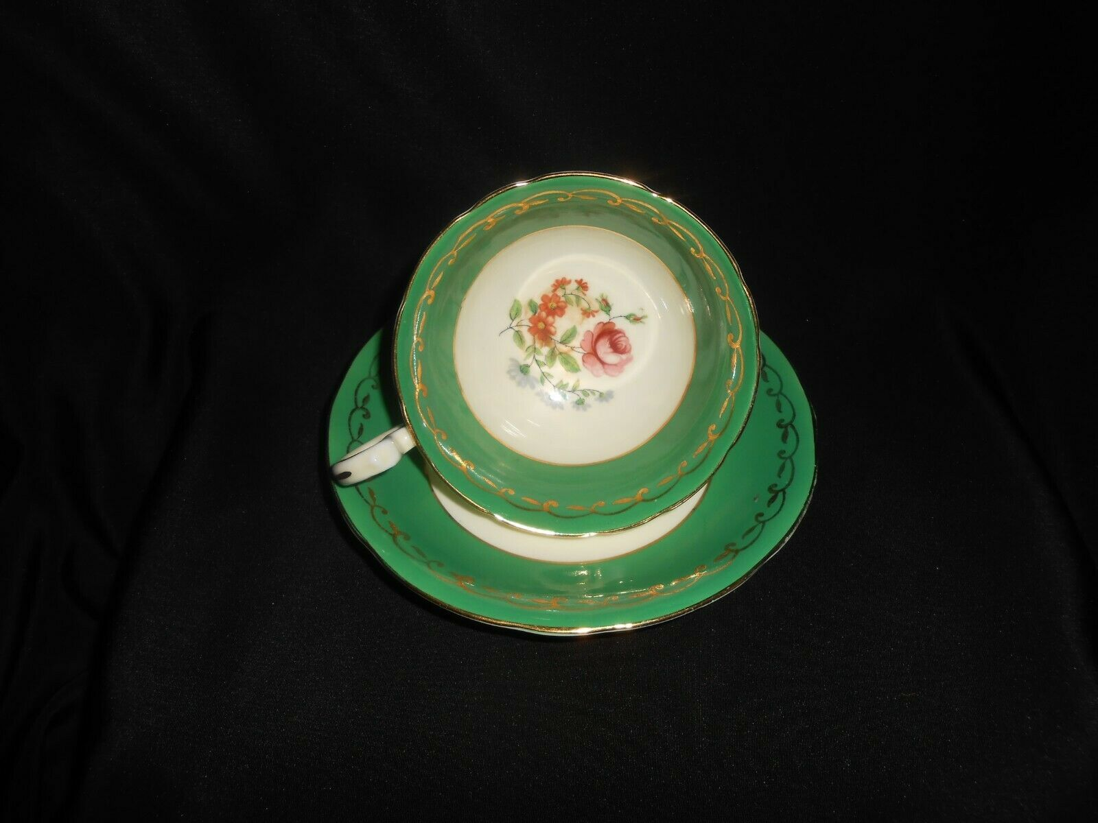 Aynsley Teacup and Saucer Green Gold Open Roses Vintage Floral Tea Cup & Saucer